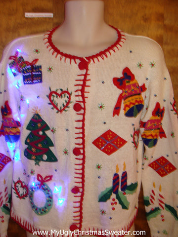 Festive 80s Colorful Light Up Cheesy Christmas Sweater