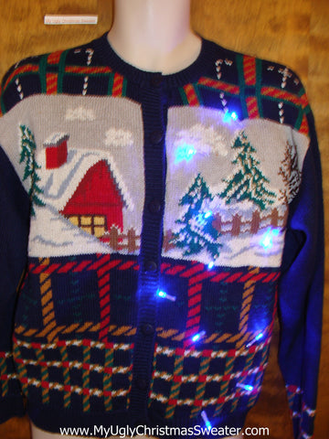 Plaid 80s Light Up Cheesy Christmas Sweater