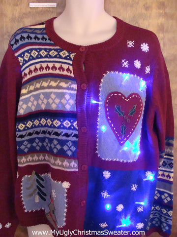Classic 80s Heart Themed Light Up Cheesy Christmas Sweater