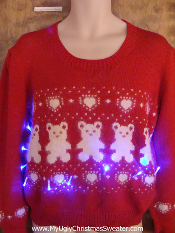 BEST Teddy Bear Light Up Cheesy Christmas Sweater