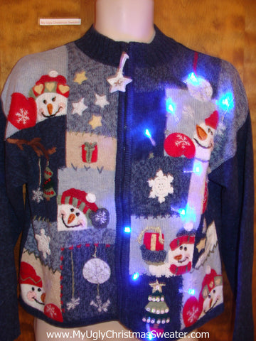 Cute Snowman Blocks Light Up Cheesy Christmas Sweater