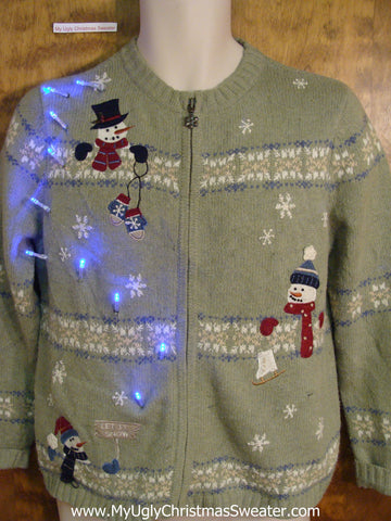 Snowman Trio Light Up Cheesy Christmas Sweater