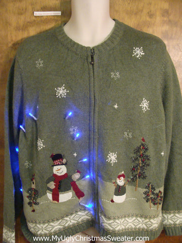 Two Sided Snowman Themed Light Up Cheesy Christmas Sweater