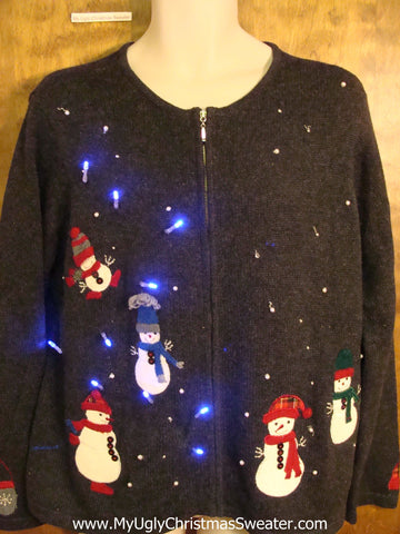 Floating Snowmen Light Up Cheesy Christmas Sweater
