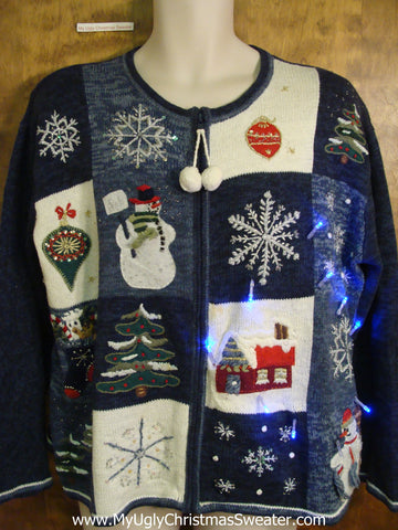 Cute Festive Blue Light Up Cheesy Christmas Sweater