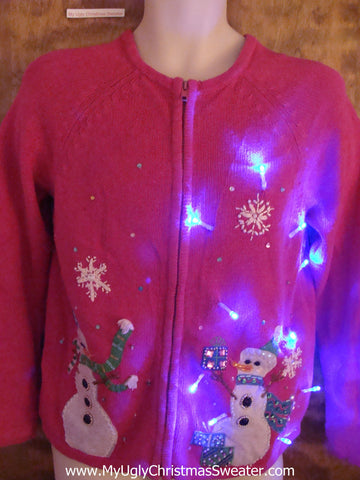 CUTE Pink Light Up Cheesy Christmas Sweater with Snowmen