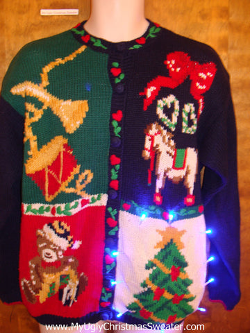 Fun Colorful 80s Light Up Cheesy Christmas Sweater