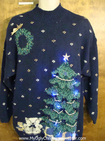 Blue 2sided Light Up Tacky Christmas Jumper with a Tree