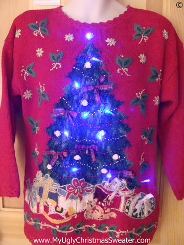 Red Christmas Sweater with Tree and Lights (g257)