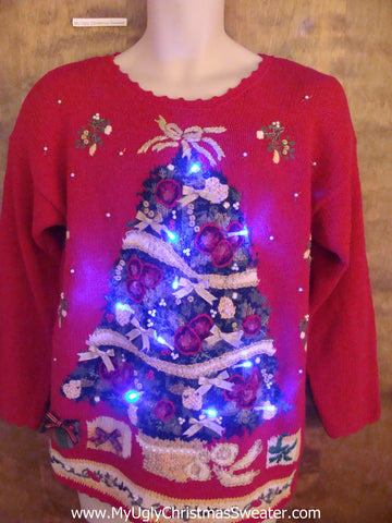 Light Up Red 80s Tacky Christmas Jumper