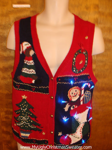 Cute Red Light Up Tacky Christmas Jumper Vest