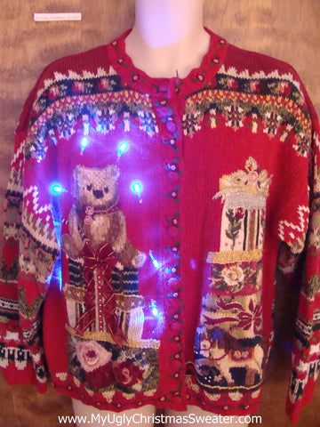 Ornate 80s Bear and Gifts Light Up Tacky Christmas Jumper