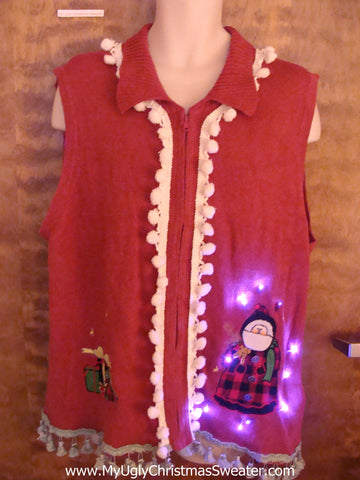 Funny Light Up Tacky Christmas Jumper Vest with Fringe