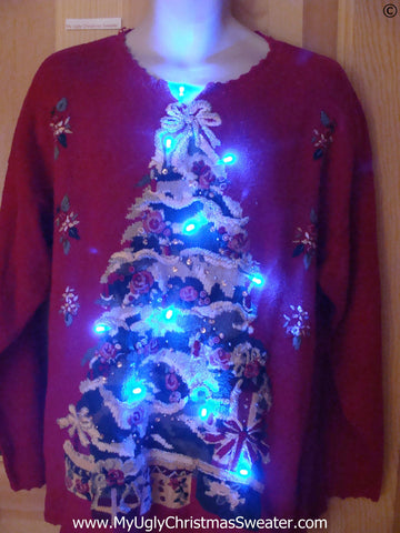 Red Christmas Sweater with Huge Tree and Lights (g258)