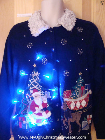 Santa and Reindeer Christmas Sweater with Lights (g259)