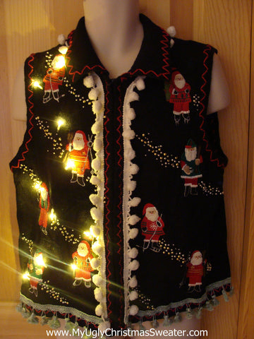 Tacky Ugly Christmas Sweater Vest with Skating Santas with Lights and Fringe (g25)