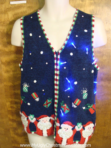 Light Up Ugly Xmas Sweater Vest