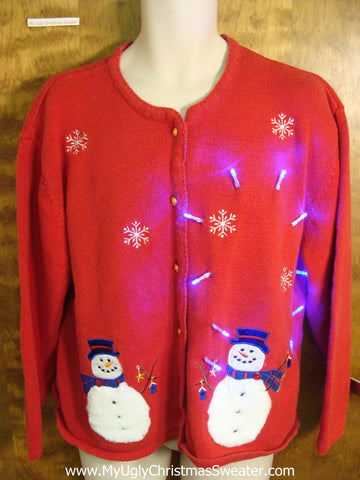 Light Up Red Tacky Ugly Xmas Sweater