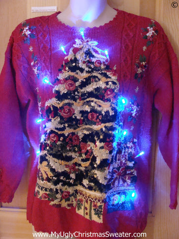 Red Christmas Sweater with Tree and Lights (g261)