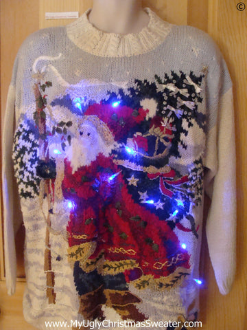 80s Retro Christmas Sweater with Santa and Lights (g262)