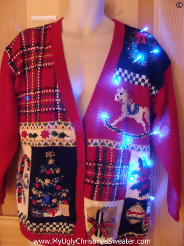 Plaid Christmas Sweater with Lights and Horse (g263)
