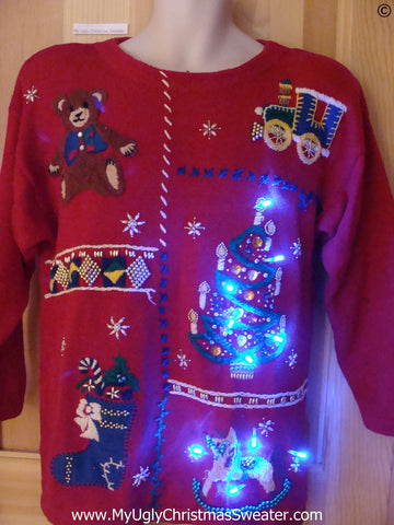80s Red Christmas Sweater with Lights Tree and Toys (g264)