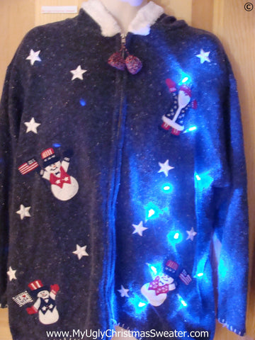 Patriotic Hoodie Christmas Sweater with Lights (g266)