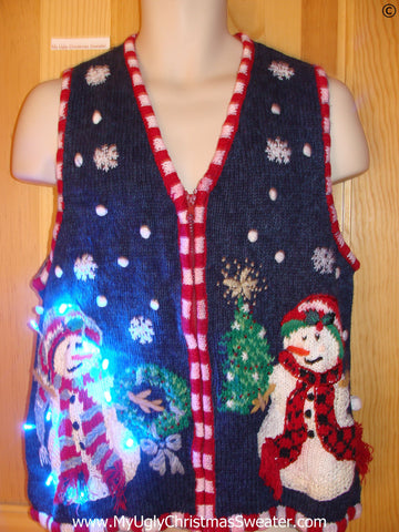 Snowman Christmas Sweater Vest with Lights (g267)
