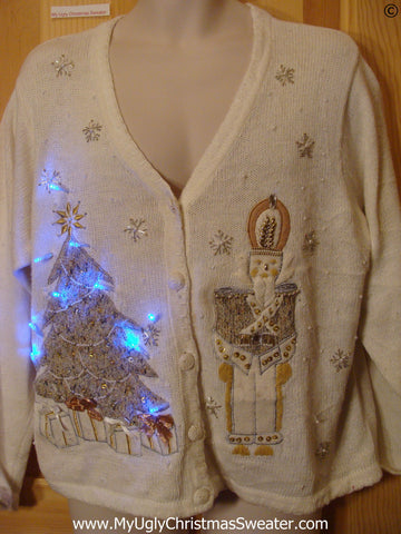 Fancy Santa Christmas Sweater with Tree w- Lights (g268)