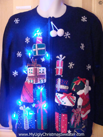 Santa and Gifts Christmas Sweater with Lights (g269)