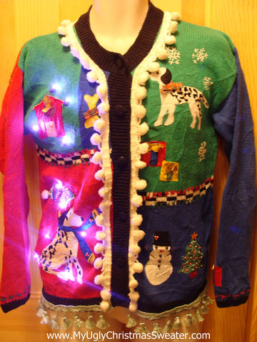 Tacky Ugly Christmas Sweater with Lights and Fringe. Dogs and a Dog House. (g26)