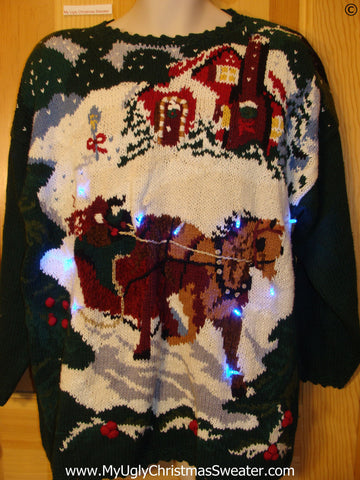 80s Christmas Sweater Horse with Lights (g270)