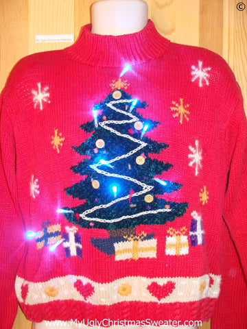 80s Christmas Sweater with Huge Tree and Lights (g271)