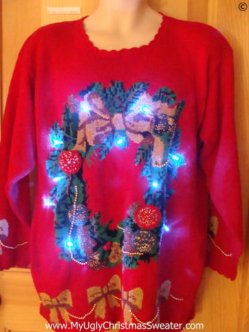 Red Christmas Sweater with Wreath and Lights (g273)