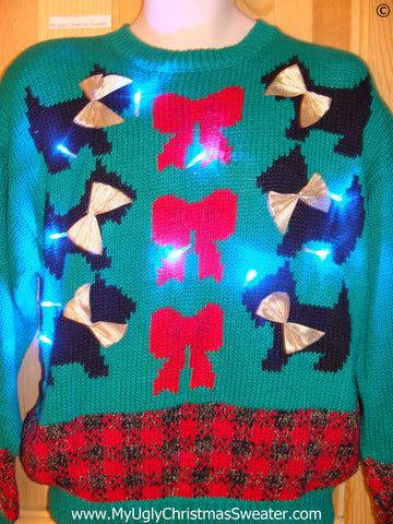 80s Scotty Dog Christmas Sweater with Lights (g276)