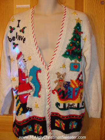 Christmas Sweater Cardigan with Lights Santa I Believe (g278)