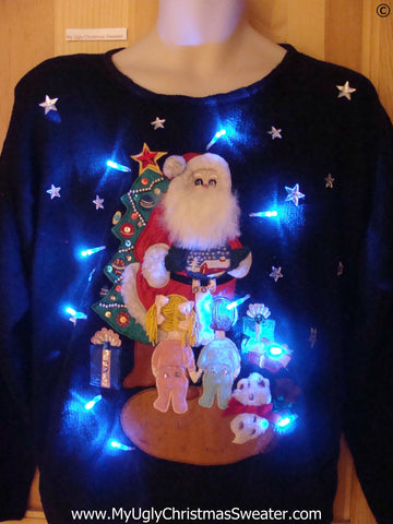 80s Christmas Sweater with Lights Santa and Kids (g279)
