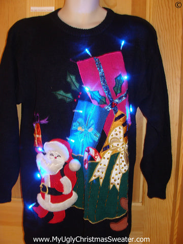 80s Christmas Sweater with Santa, Gifts, and Lights (g280)
