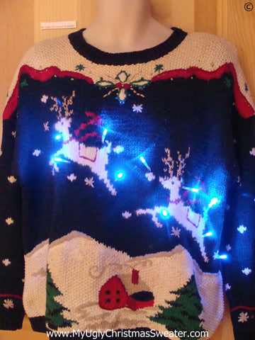Reindeer with Lights Christmas Sweater 80s Vintage (g281)