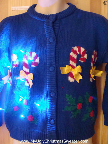Christmas Sweater Cardigan w- Candy Canes and Lights (g282)