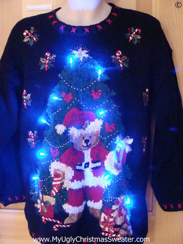 80s Christmas Sweater with Santa Bear and Lights (g283)