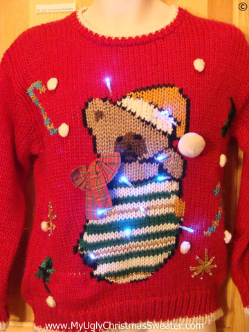 80s Red Christmas Sweater with Teddy Bear and Lights (g284)