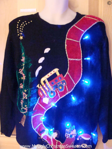 80s Christmas Sweater with Toy Trian and Lights (g285)