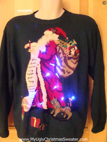 80s Vintage Christmas Sweater with Lights Santa (g287)