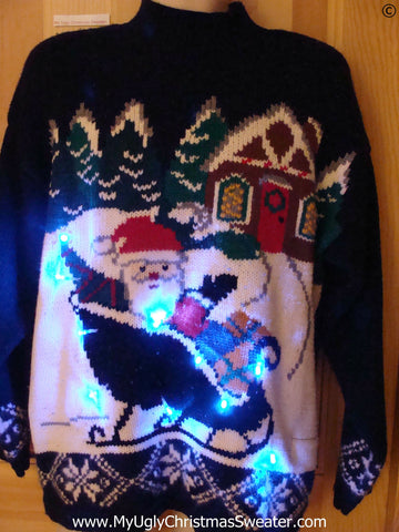 80s Christmas Sweater with Santa in Sleigh with Lights (g288)