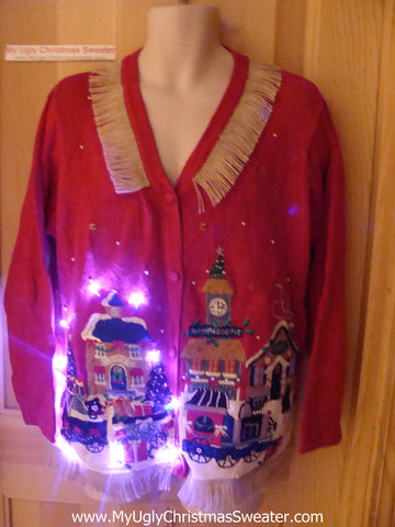 Tacky Ugly Christmas Sweater with Lights and Fringe, Winter Wonderland Town. (g28)