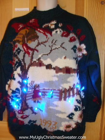 Horrid Winter Scene Christmas Sweater with Lights (g290)