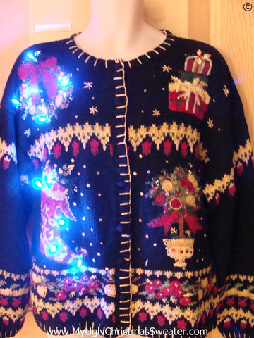 80s Crafty Christmas Sweater with Lights (g291)
