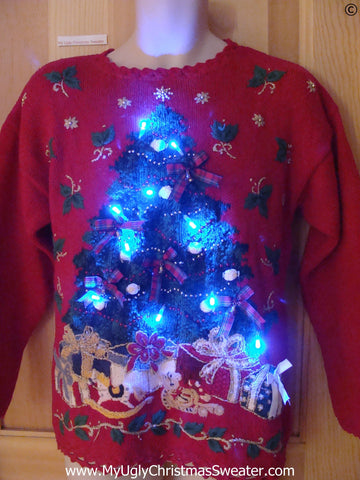 80s Red Christmas Sweater with Tree, Ivy, and Lights (g292)