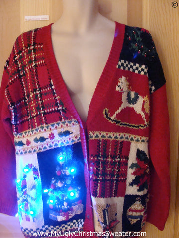 Plaid Christmas Sweater with Lights, Rocking Horse (g293)